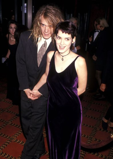 """NEW YORK CITY - SEPTEMBER 13: Musician Dave Pirner of Soul Asylum and actress Winona Ryder attend """"The Age of Innocence"""" New York City Premiere on September 13, 1993 at the Ziegfeld Theater in New York City. (Photo by Ron Galella, Ltd./WireImage) *** Local Caption *** Dave Pirner;Winona Ryder"""