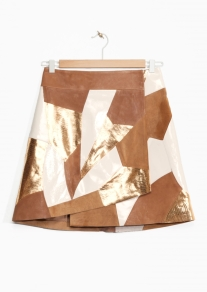 patchwork-leather-skirt